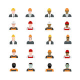 Set of people avatars profession, professional human occupation, basic characters set, employee variety in flat style. Royalty Free Stock Photos