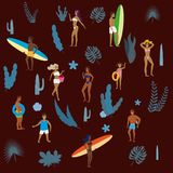 Set people at beach or seashore relaxing and performing summer outdoor activities at beach - sunbathing, walking. Set people at beach or seashore relaxing and royalty free illustration