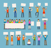 Set of people with blank white banner in various action. Stock Photography