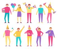Set of People Celebrating Birthday Party Men Women. Set of people celebrating birthday party, men with festive flags, gift boxes, drinking champagne and eating Royalty Free Stock Images