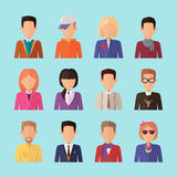 Set of People Characters Avatars in Flat Design. Stock Photos