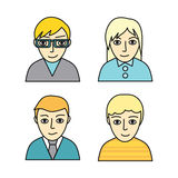 Set of People Characters Avatars in Flat Design. Stock Image