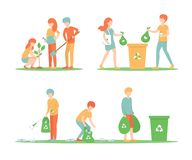 Set people clean up the trash and plant a tree royalty free illustration