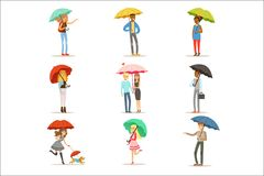 Set of people with colorful umbrellas. Smiling man and woman walking under umbrella colorful characters vector Stock Illustration