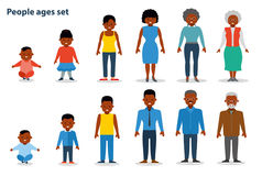 The set of people of different ages on the rise, from infant to the old man. African american ethnic people. Flat Stock Photos