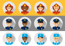 Set of people different nationalities police, fireman, doctor Stock Photos