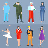 Set of people different professions cook, soldier Royalty Free Stock Images