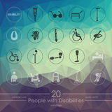 Set of people with disabilities icons Stock Image