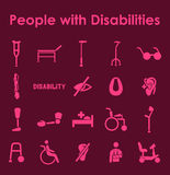 Set of people with disabilities simple icons Royalty Free Stock Image