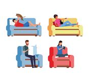 Activities and free time at home vector illustration
