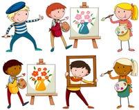 Set of people doing artworks. Illustration Stock Photo