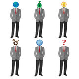 Set of people dressed in suits with the different icons instead of faces. Leadership, money, powerful business concept. Collection of vector flat design Stock Photo