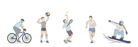 A set of people are engaged in different kinds of sports.. Vector illustration Royalty Free Stock Photography