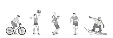 A set of people are engaged in different kinds of sports.. Vector illustration Royalty Free Stock Image