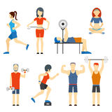 Set of people exercising at the gym. Set of colored vector icons of people exercising at the gym and fitness icons with weight lifting  bodybuilding  running Royalty Free Stock Photos