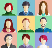 Set of People Faces Avatars Flat Icons. On Different Color Background Stock Images