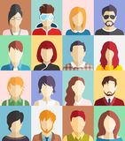 Set of People Faces Avatars Icons. Set of People Faces Avatars Flat Icons Stock Photos