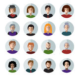 Set of People Faces Flat Icons. Royalty Free Stock Images