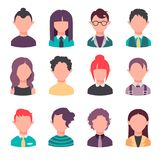 Set of people faces vector illustration