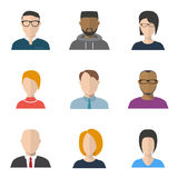 Set of people faces. Set of vector flat style people faces. Characters portraits and avatars, freelancer, businessman with tie and jacket, and secretary faces Stock Images