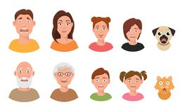 People facial emotions afraid fearful scared windy emotions human faces different expressions vector illustration in Stock Image