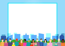 Set  with people, family, electorate etc on city. Vector illustration Stock Images