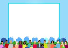 Set  with people, family, electorate etc on town. Vector illustration Stock Photography