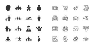 Set of People and Family icons. Swimming pool. Vector vector illustration