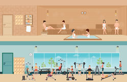 Set of people in fitness gym interior with equipment and sauna i. Nterior or steam room, charactors flat design Vector illustration royalty free illustration