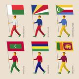 Set of people with flags of countries in Indian ocean Royalty Free Stock Photos