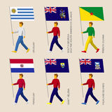 Set of people with flags of South America countries Royalty Free Stock Image