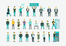 Set with people flat conception vector Stock Photos