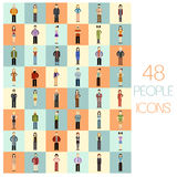 Set of 48 people flat icons. Vector image of a set of 48 people flat icons Royalty Free Stock Photos