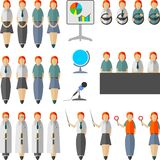 Set of people in the flat style. For illustrations on the theme of education, business and press conferences Stock Photography