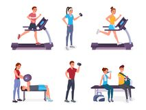 People in gym royalty free illustration
