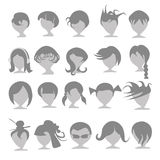 Set of people with hairstyles. Set of icons of fashionable people Stock Photo
