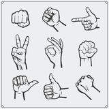 Set of people hands. Different gestures. Royalty Free Stock Photo
