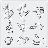 Set of people hands. Different gestures. Stock Images