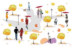 Set of people having rest in the park in autumn. People with umbrellas. Colorful vector illustration stock illustration