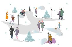 Set of people having rest in the park in winter. Active leisure outdoor activities. Colorful vector illustration royalty free illustration