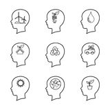 Set of people head line icon, thinking of the brain,ecology conc Stock Images