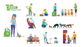Set of people helping elderly, animals, planting and cleaning city. Royalty Free Stock Photos