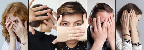 Set of people that are hiding their face with fingers. Concept of being shy and disappointed Stock Photography