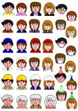 Set of people icon. With various uniforms and items stock illustration