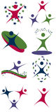 Set of people icons. Representing movement and energy Stock Images
