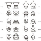 Set of PEOPLE icons from all over the world Royalty Free Stock Photo