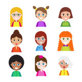 Set of people icons for avatars. Royalty Free Stock Images
