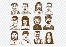 Set of people icons faces.  women, men character Royalty Free Stock Photography