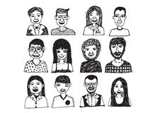 Set of people icons faces.  women, men character Stock Photo
