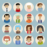 Set of people icons in flat style with faces. Vector men and wom Stock Photo